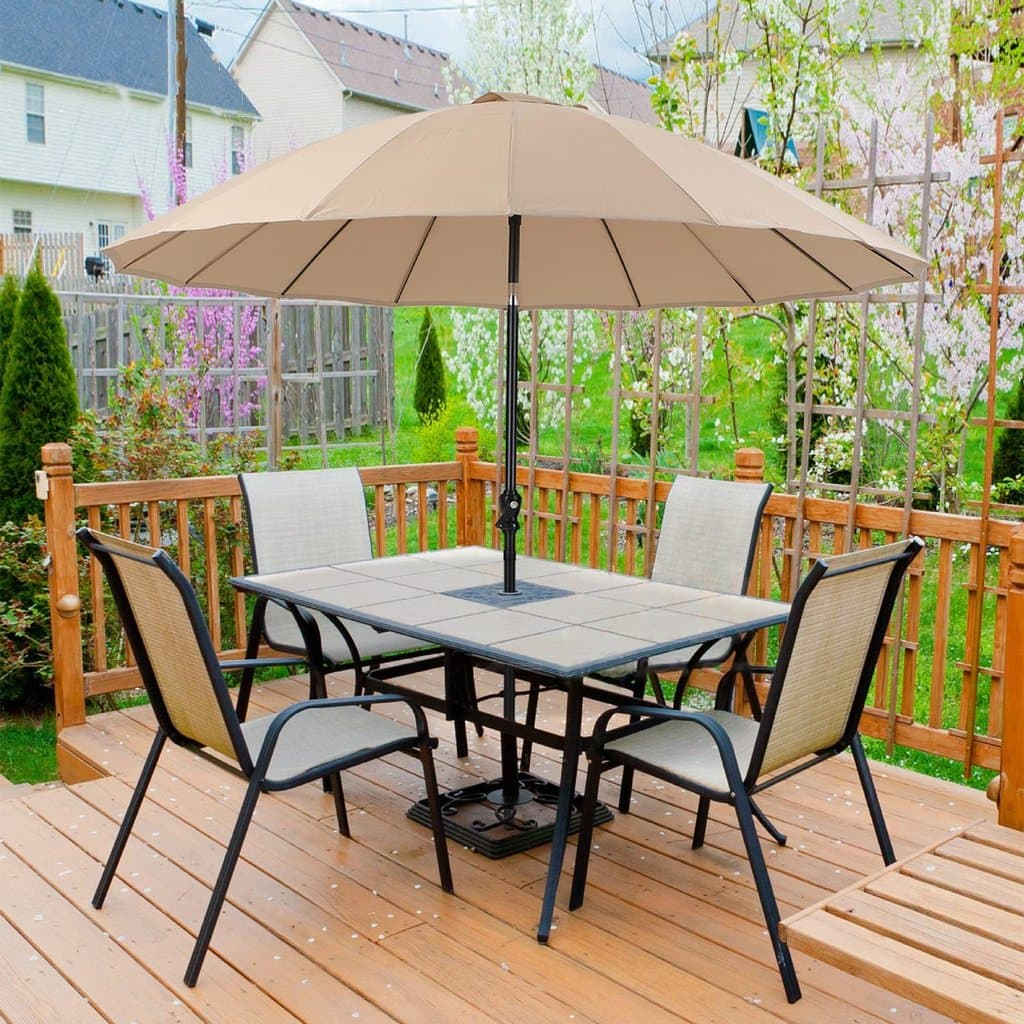 PHI VILLA 10ft Patio Umbrella with Push Button Tilt & Crank Only $64.99 + FS