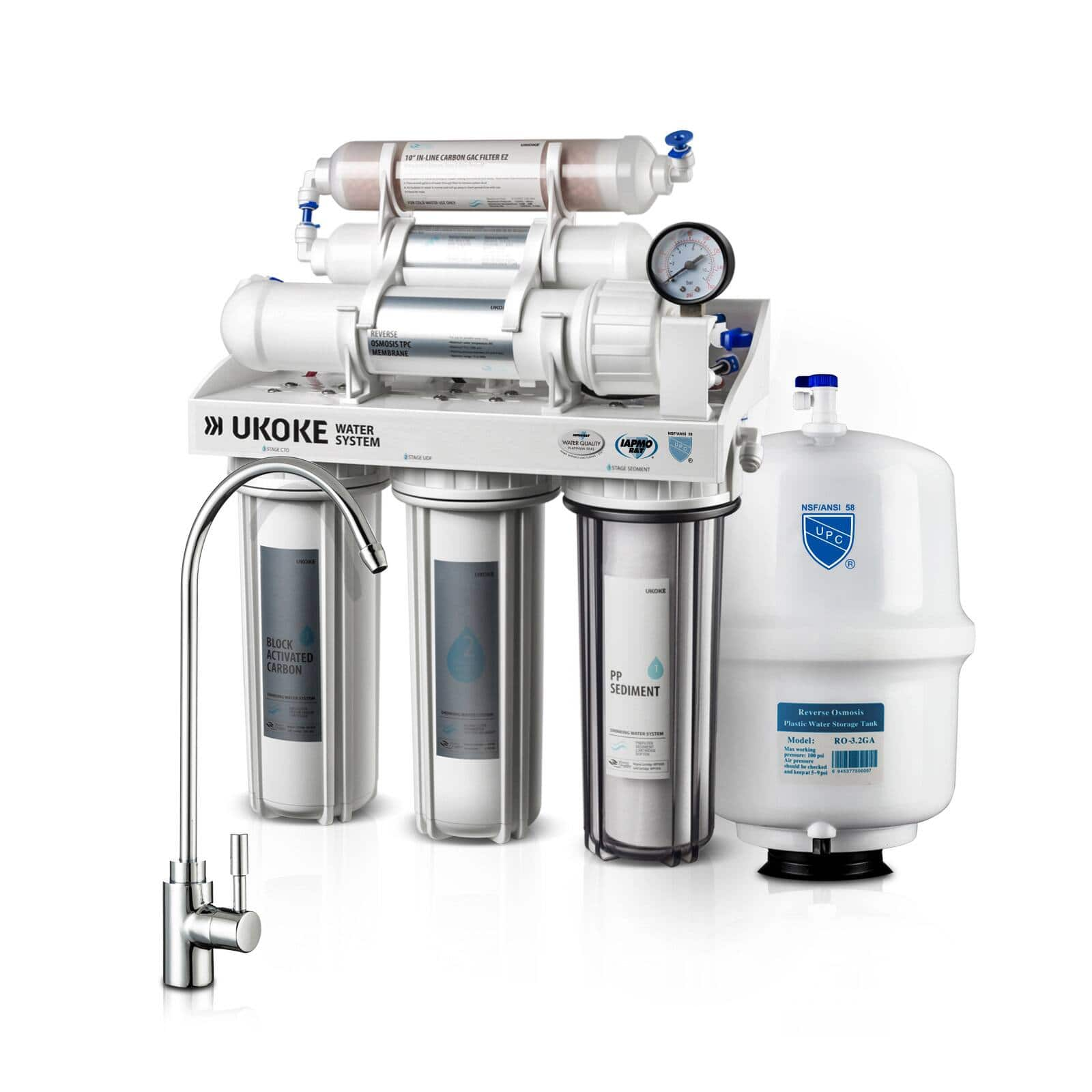 Ukoke 6 Stages Reverse Osmosis, Water Filtration System, 75 GPD $139 + FS