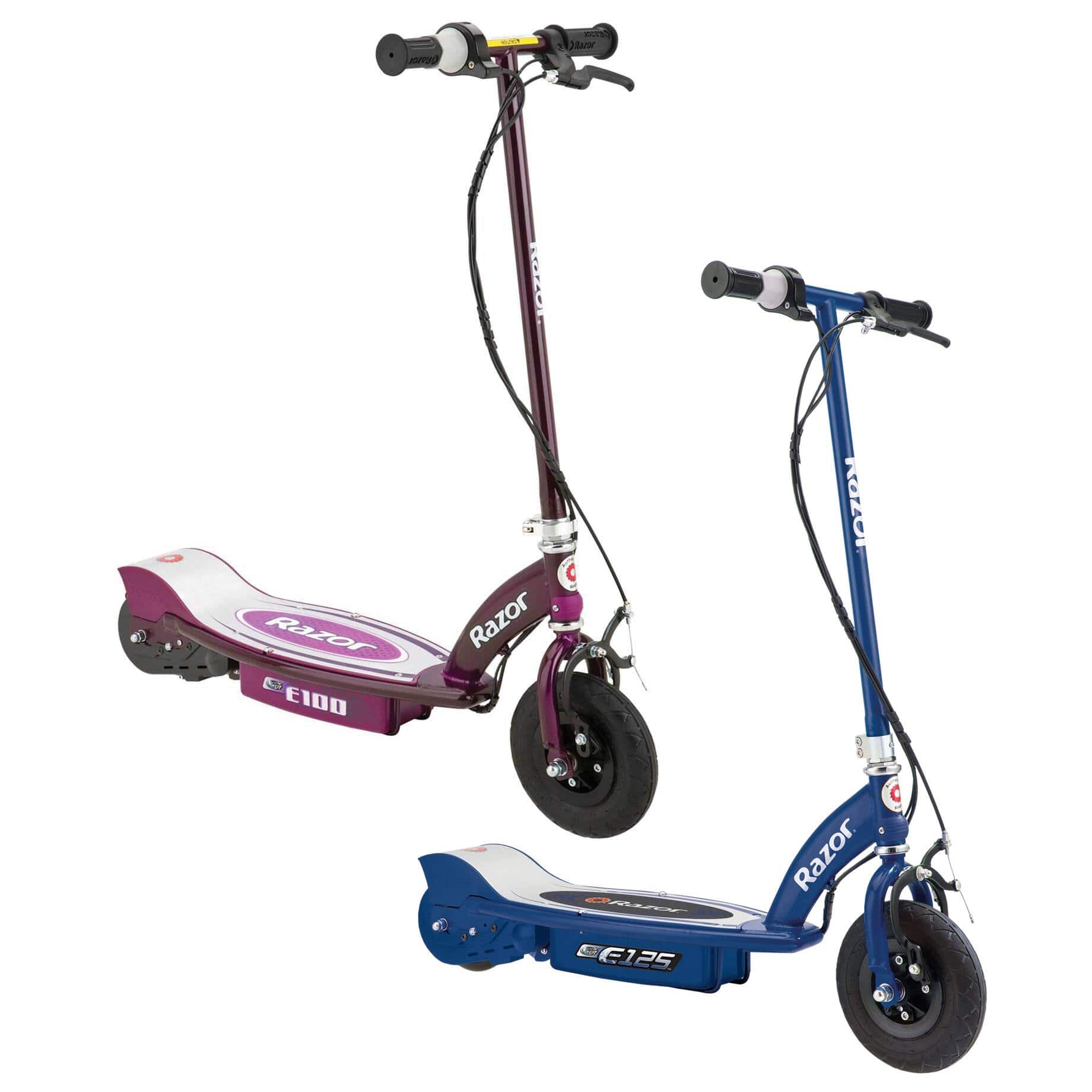 2-pack - Razor E100 & E125 Kids 24V Electric Battery Powered Toy Scooters, Blue & Purple $249.99 + FS