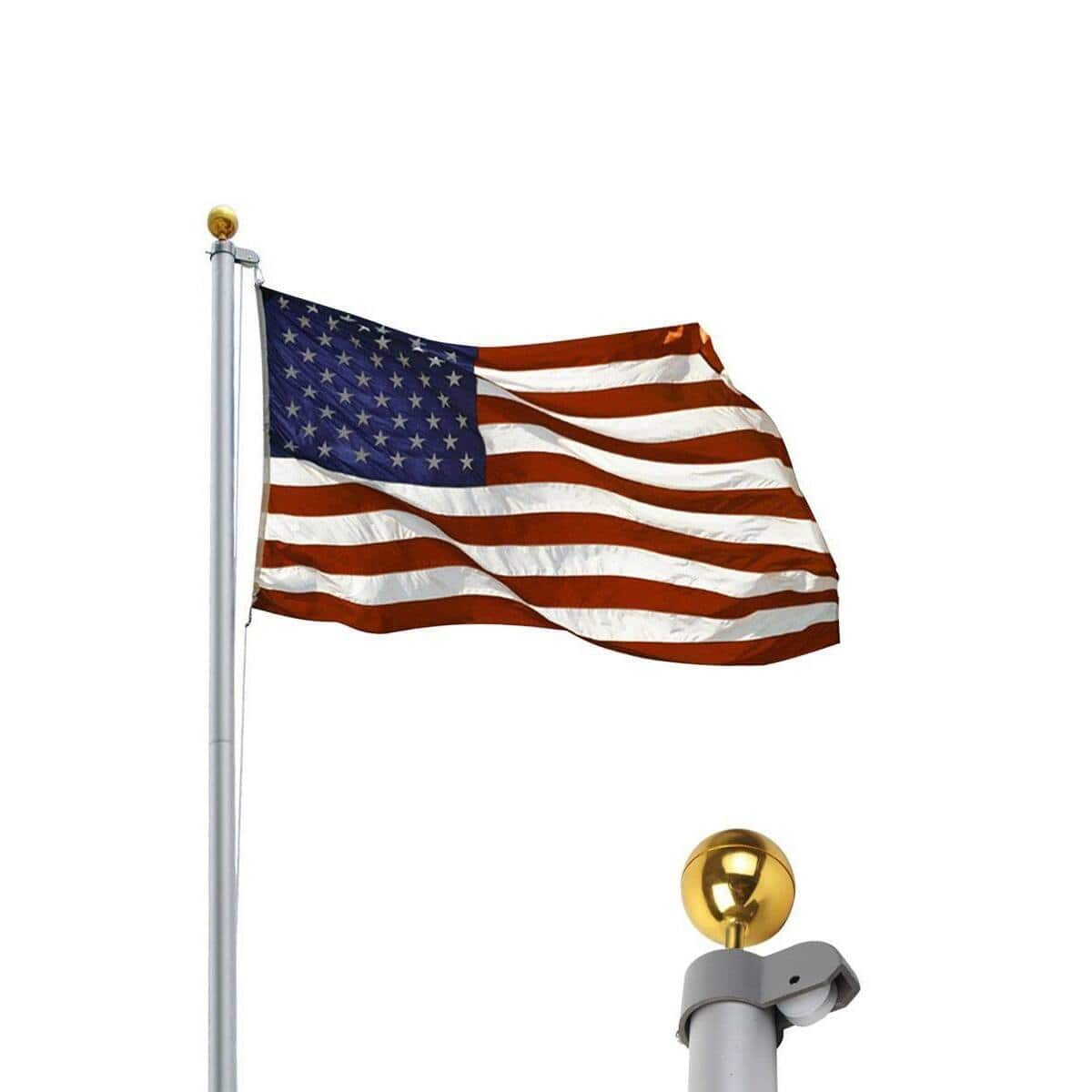 20 ft Aluminum Sectional Flagpole Kit w/ Halyard Pole and American Flag $48.95 + FS