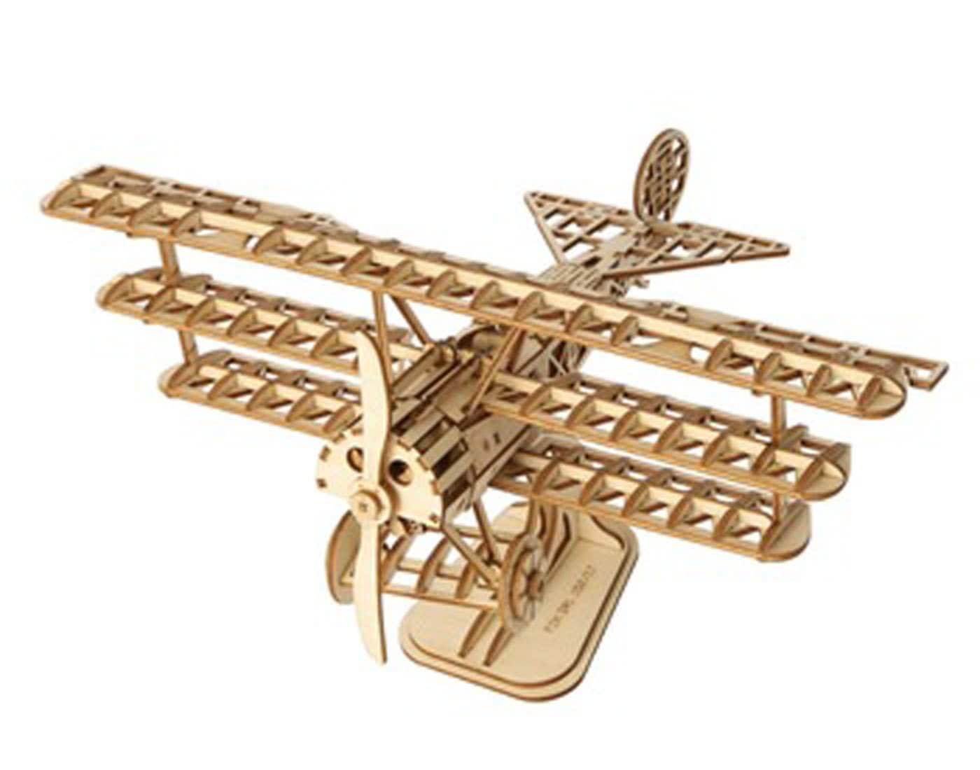 ROBOTIME 3D Wooden Puzzle Toy Wooden Bi-Plane Craft Kits for $8.39 Free Shipping