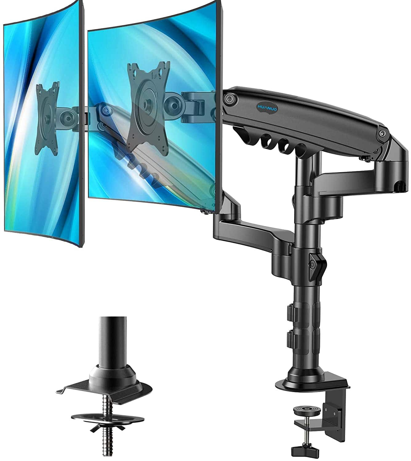 Dual Monitor Stand - Height Adjustable Gas Spring Double Arm Monitor Mount Desk Stand Fit Two 17 to 32 inch Screens with Clamp, Grommet Mounting Base $41.99 + FS