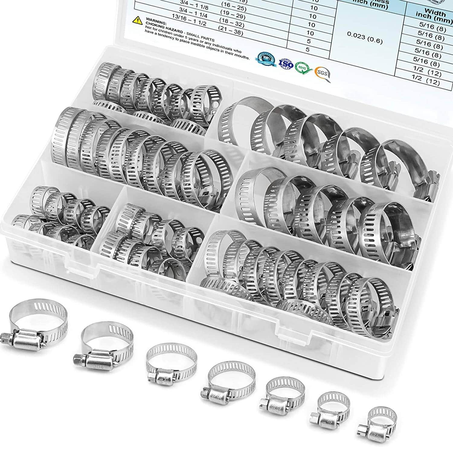 60PCS Hose Clamp Set - 1/4''–1-1/2'' 304 Stainless Steel Worm Gear Hose Clamps for Pipe, Intercooler, Plumbing, Tube and Fuel Line $11.99 + FS with PRIME