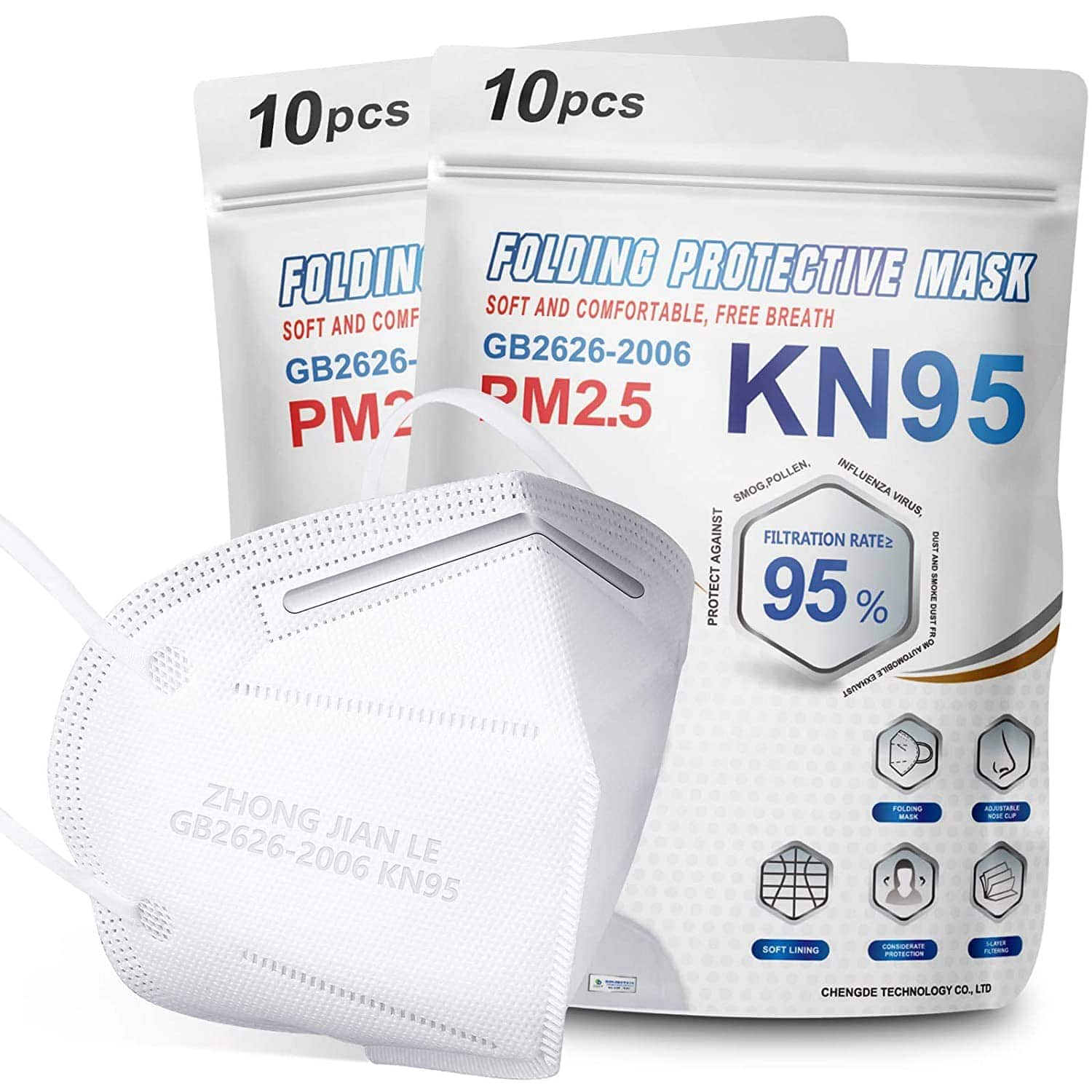 20-Pack KN95 Masks FDA Authorized Respirator Ear Loop KN95 Masks $12.89 & Free Shipping