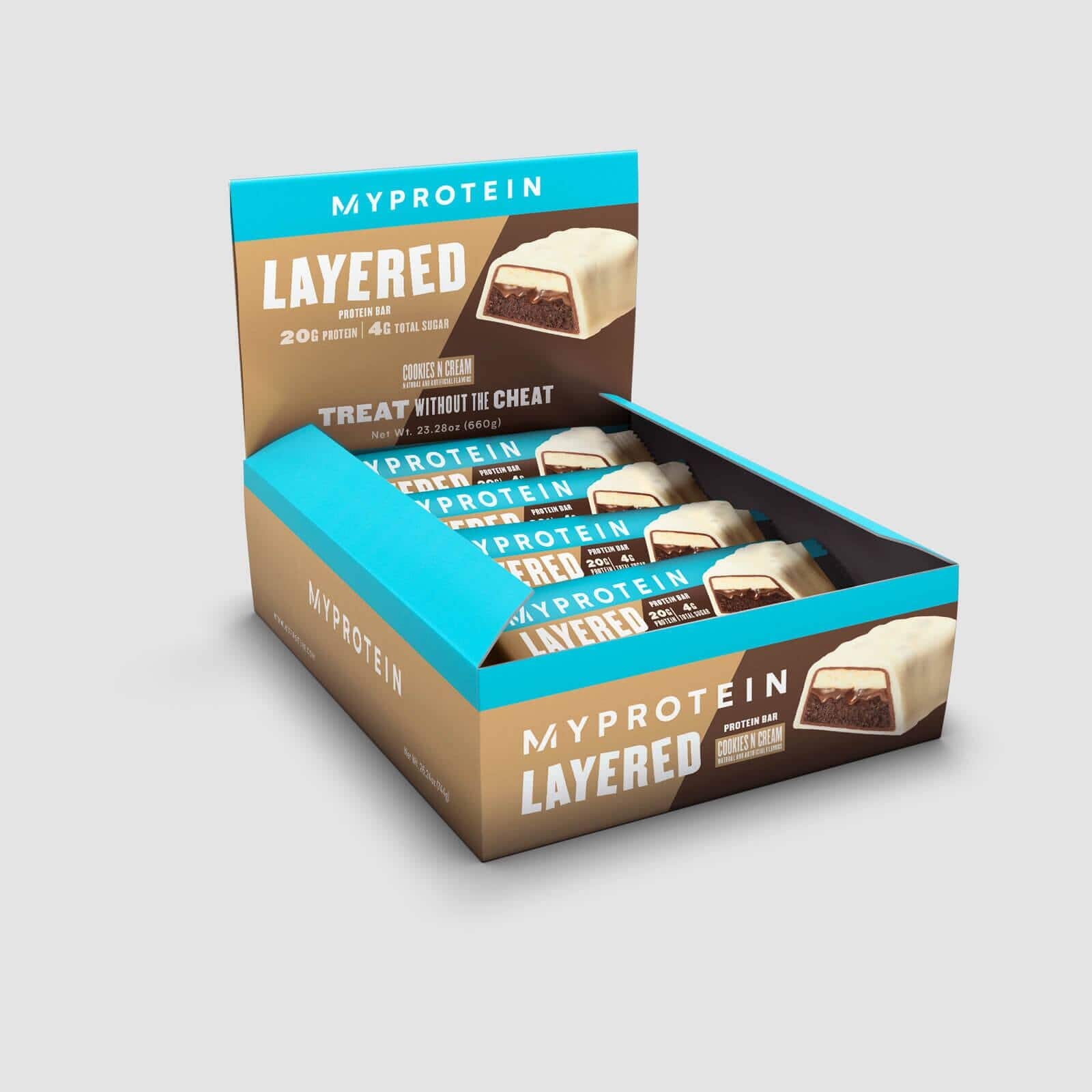 Myprotein Layered Bar Box of 12 (Cookies & Cream) only $13.99 with Free Shipping