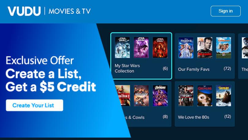 Targeted Vudu Offer, Create a List, Get a $5 Credit.