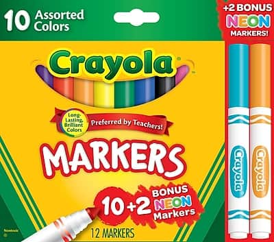 Crayola Markers Assorted colors Bonus Pack, 12 $0.97
