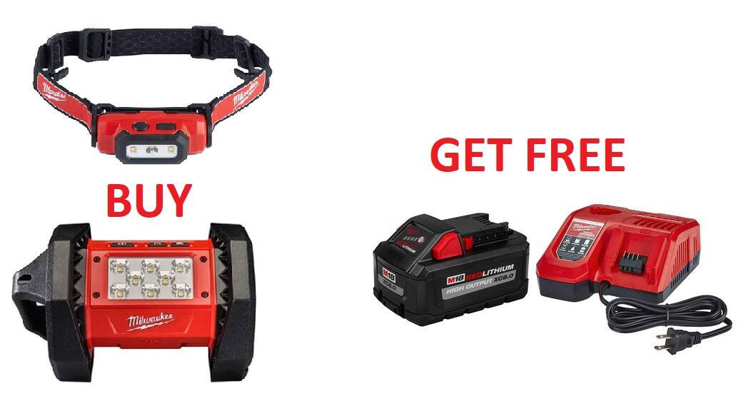 Buy 2 Milwaukee Lighting tools Get a Free M18 REDLITHIUM HIGH OUTPUT XC8.0 Starter Kit $138.97