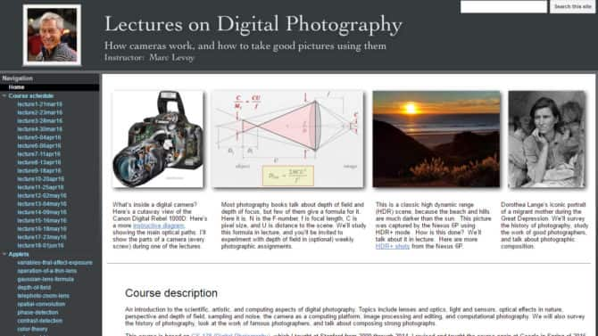 Stanford Professor Marc Levoy Digital Photography Course ONLINE FOR FREE