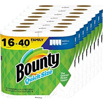 Bounty Quick-Size Paper Towels, White, 16 Family Rolls = 40 Regular Rolls $38.84 @ Amazon