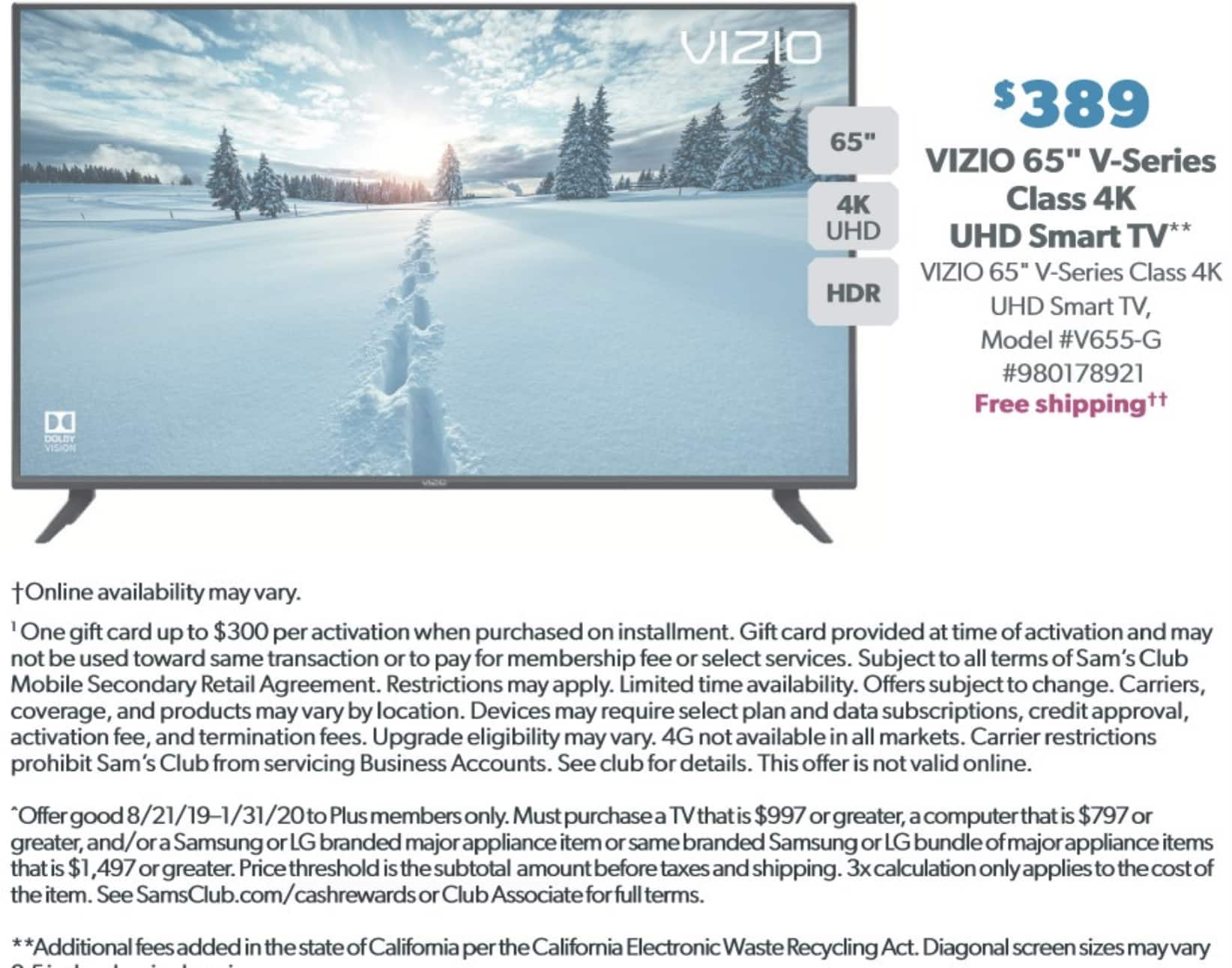 "Sam's Club VIZIO V-Series™ 65"" Class 4K HDR Smart TV - V655-G9  for $389 only on 12/14/2019"