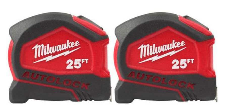 2 pack Milwaukee 25 ft auto lock tape measure at Home Depot $20