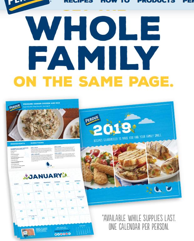 FREE 2019 Calendar from Perdue
