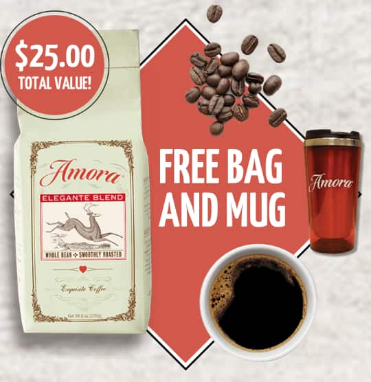 Bag of Amora Coffee FREE, Plus Get a FREE Mug, pay only $3.95 shipping 10 Flavors To Choose From