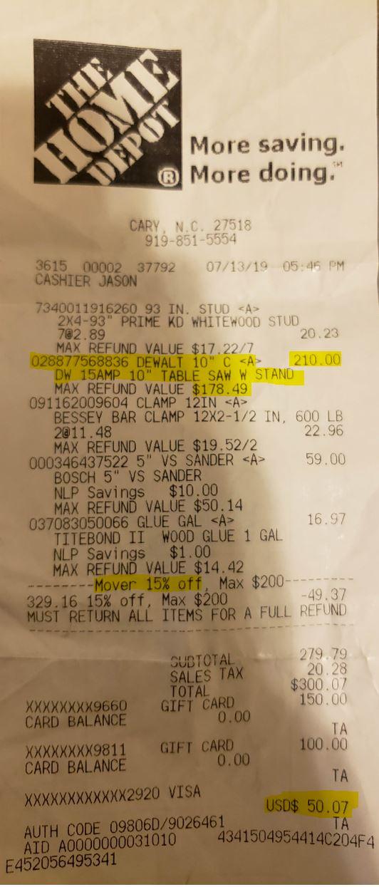 YMMV Dewalt DW745S Brickseek Clearance $210 - Slickdeals net
