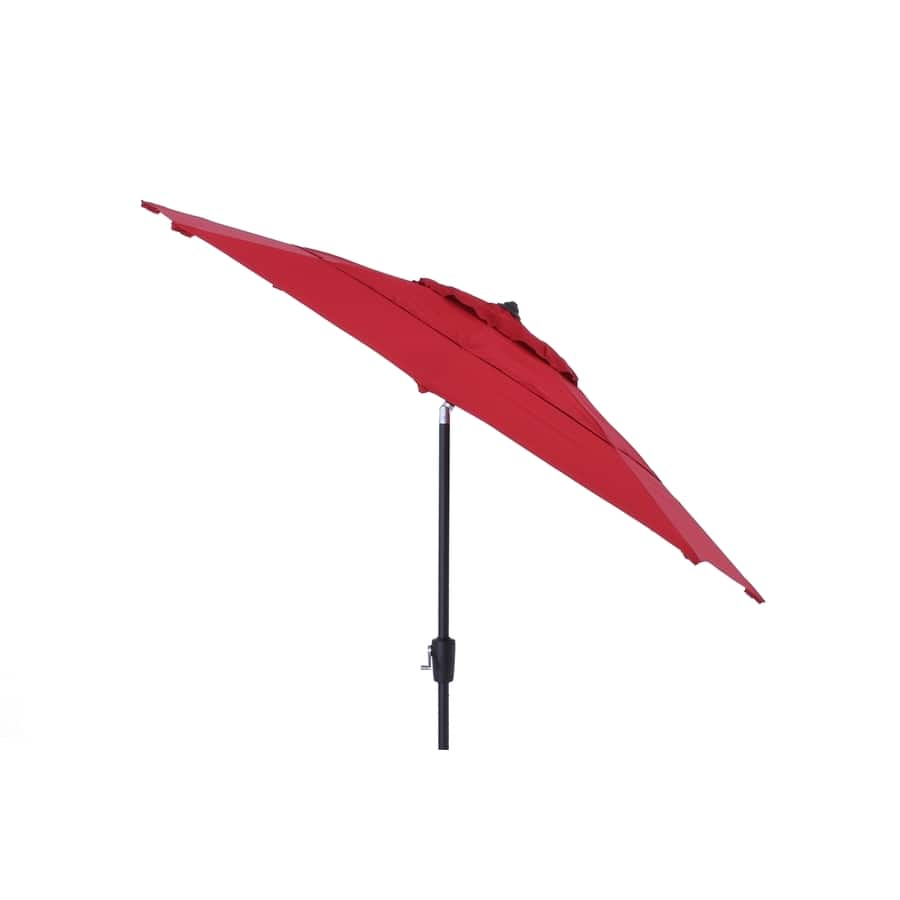Simply Shade Red Market 9-ft Auto-tilt Round Patio Umbrella with Brown Aluminum Frame $68