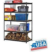 "Walmart Deal: Edsal UR245L-BLK 5-Shelf Steel Shelving Unit (48""x24""x72"") - $51 w/ Free Shipping at Walmart"