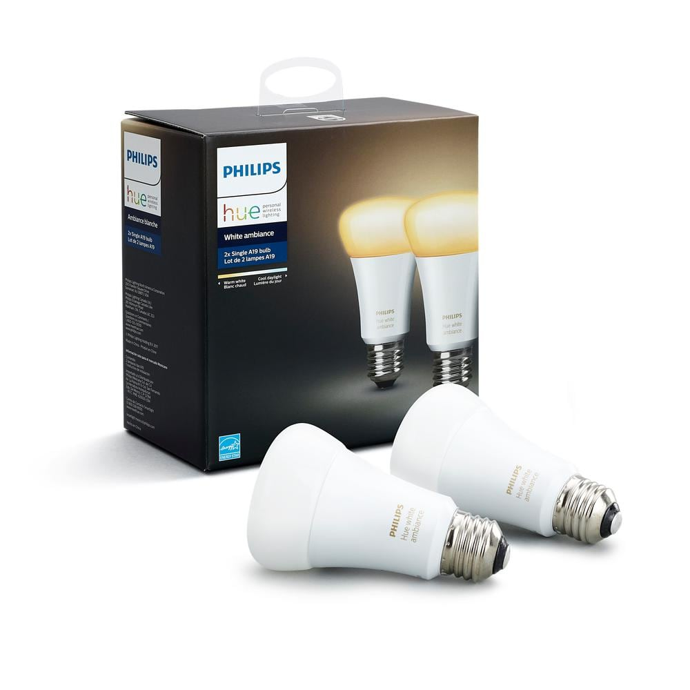 Hue White 4-pack $25.08, Hue White Ambiance 2-pack $23.08 at Home Depot B&M only