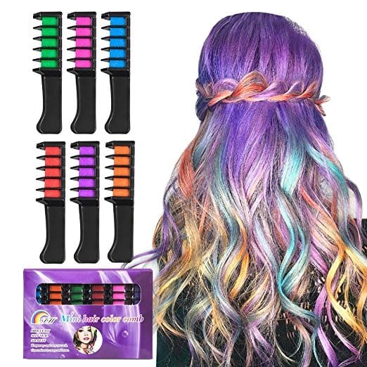 Amazon $7.97 BATTOP Bright Hair Chalk Set-Metallic Glitter Hair chalk comb for Kids and Party (6 Pcs-Comb Style)
