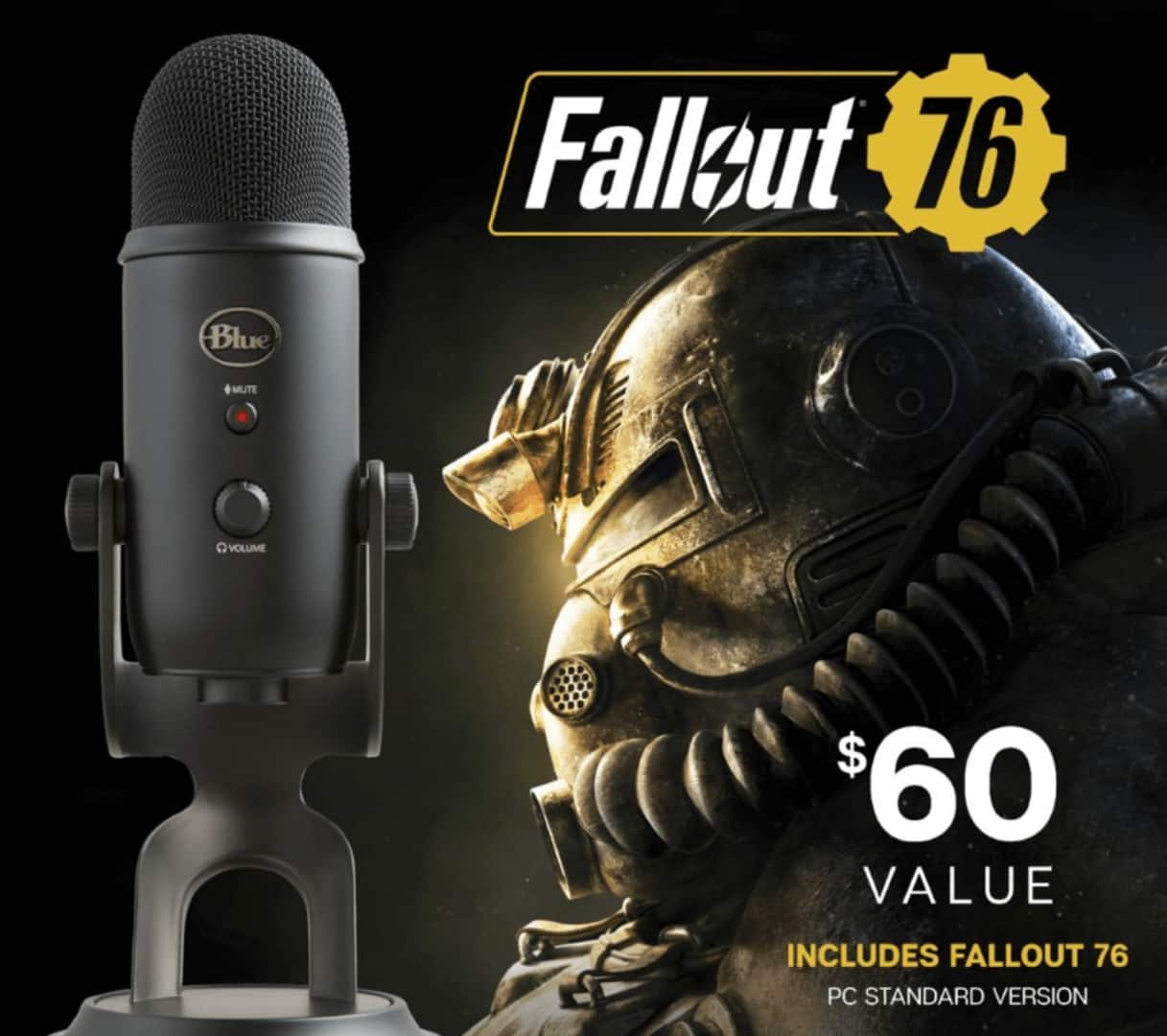 Blue Microphones - Blackout Yeti USB Multi-Pattern Condenser Microphone + Fallout 76 Bundle $99.99