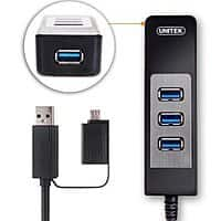 Unitek usb 3.0 hub 4 port  with a Built-in 1ft USB 3.0 Cable for Ultra Book, MacBook, Notebook or Smartphone Tablet-pc $  7.99 Amazon free Prime S.