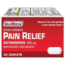 40-Ct 500mg Valumeds Extra Strength Acetaminophen Pain Relief Caplets - $0.12 w/Store Pickup on $10+ Orders @ Walgreens