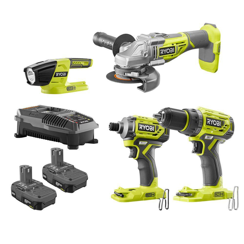 """Deal of the Day"" 18-Volt ONE+ Brushless 4-Tool Combo Kit with Drill, Grinder, Impact Driver, Light, (2) 1.5 Ah Batteries, and Charger (5/21/20) $199"