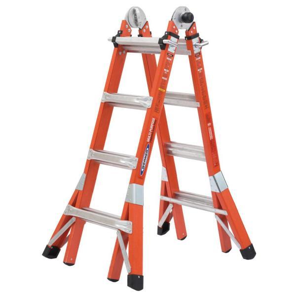 18 ft. Reach Height Multi-Purpose Fiberglass PRO Ladder with 300 lbs. Load Capacity Type IA $269