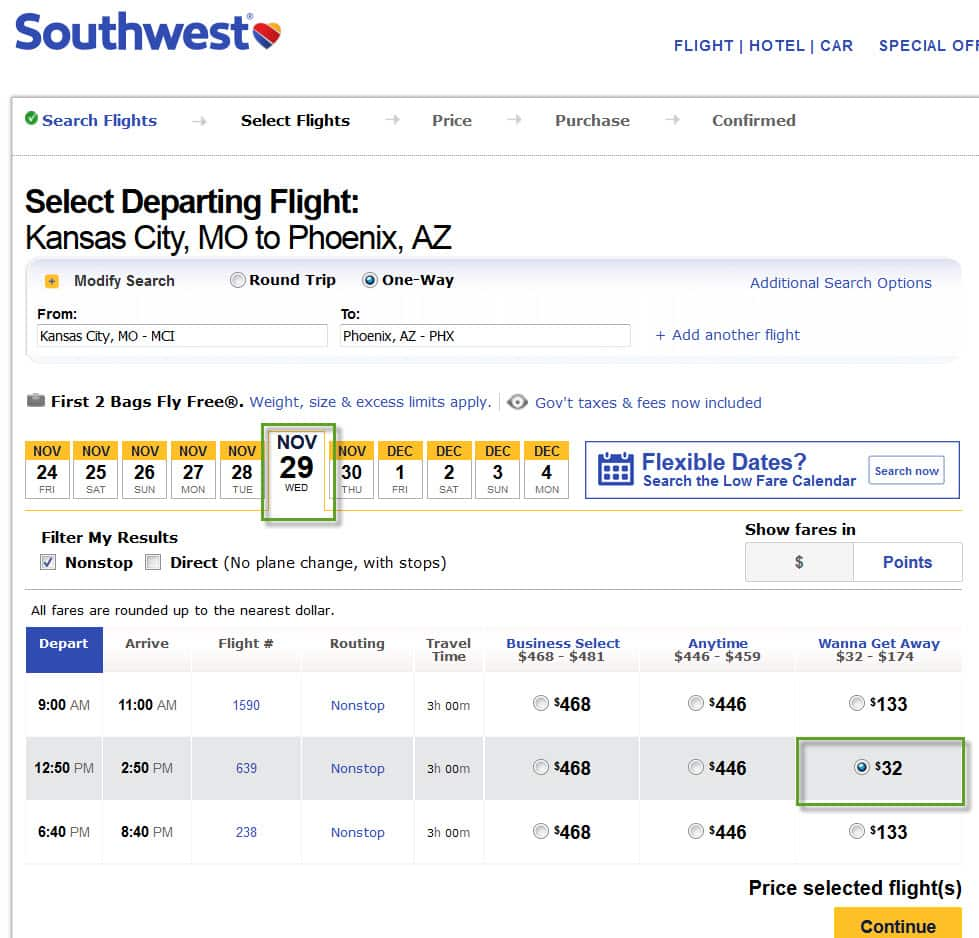 Southwest - MCI (Kansas City ) to Phoenix for $32 in Nov and Dec OW flights