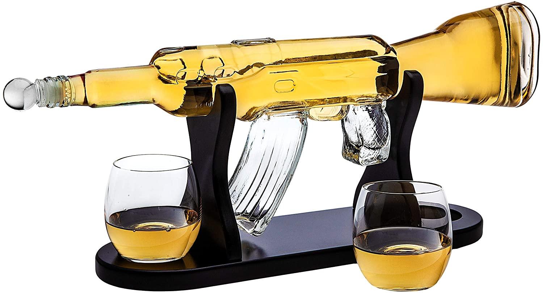Rifle Whiskey Decanter with 2 Whiskey Glasses Set  $45 @Amazon