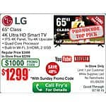 "65"" LG 4K Ultra HD 120HZ TV 65UB8200 HDTV $1299 In Store Only"