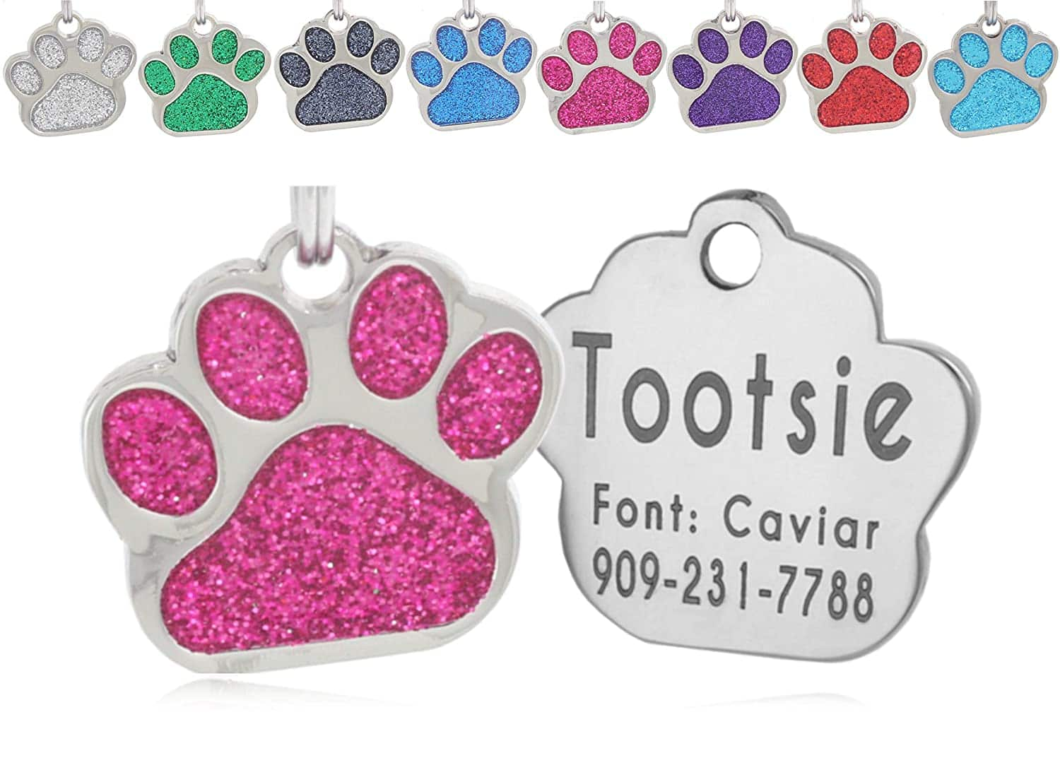 io tags Pet ID Tags, Personalized Dog Tags and Cat Tags, Custom Engraved, Easy to Read, Cute Glitter Paw Pet Tag $3 + Free Shipping