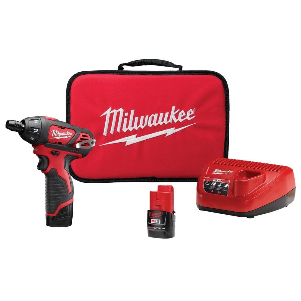 Milwaukee M12 12-Volt Lithium-Ion Cordless 1/4 in. Hex Screwdriver Kit with Two 1.5Ah Batteries, Charger and Tool Bag-2401-22 - $49