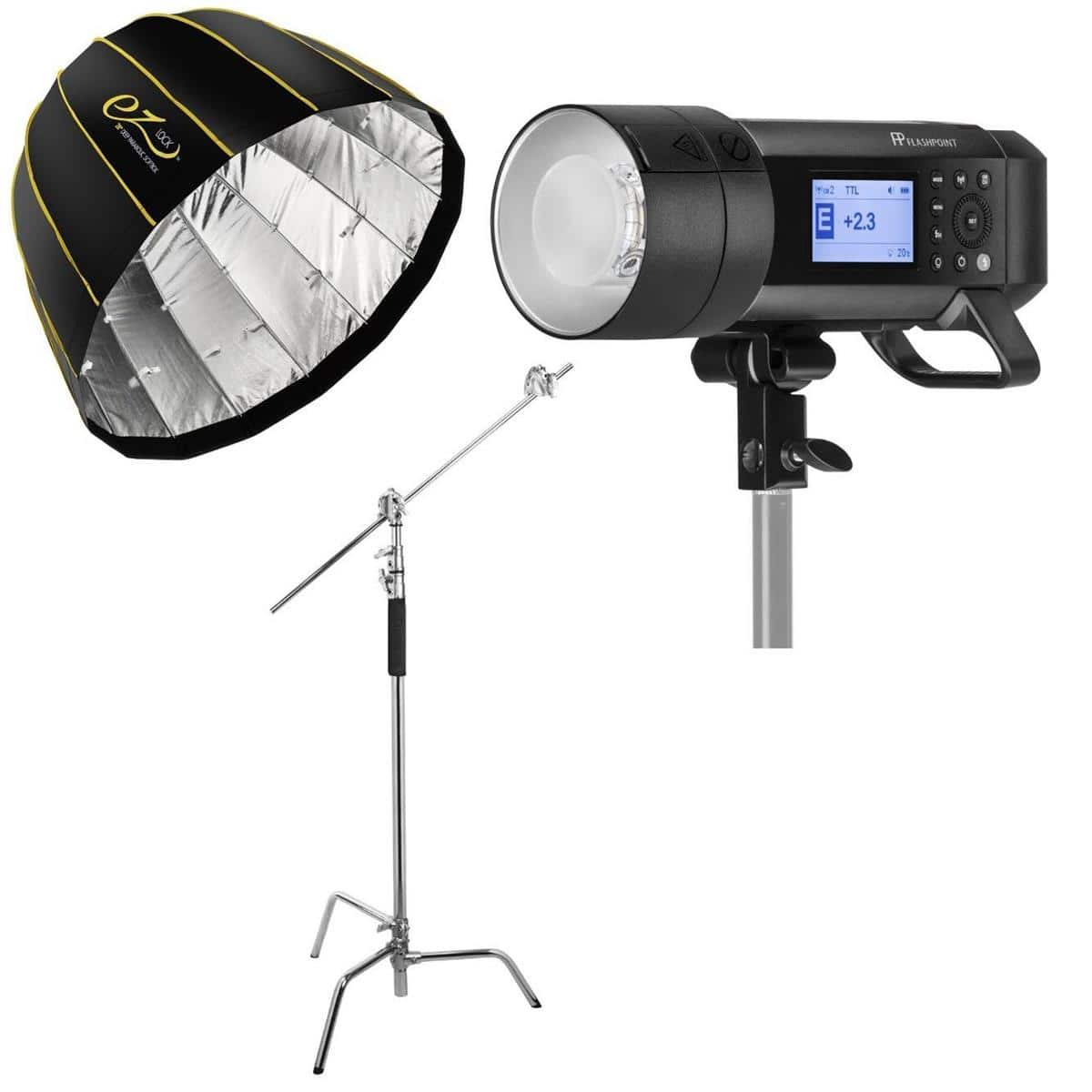 "Flashpoint XPLOR 400Pro TTL (Godox Ad400 pro) + EZ Lock 28"", 34"", or 48"" Softbox + 10' C-Stand $579"