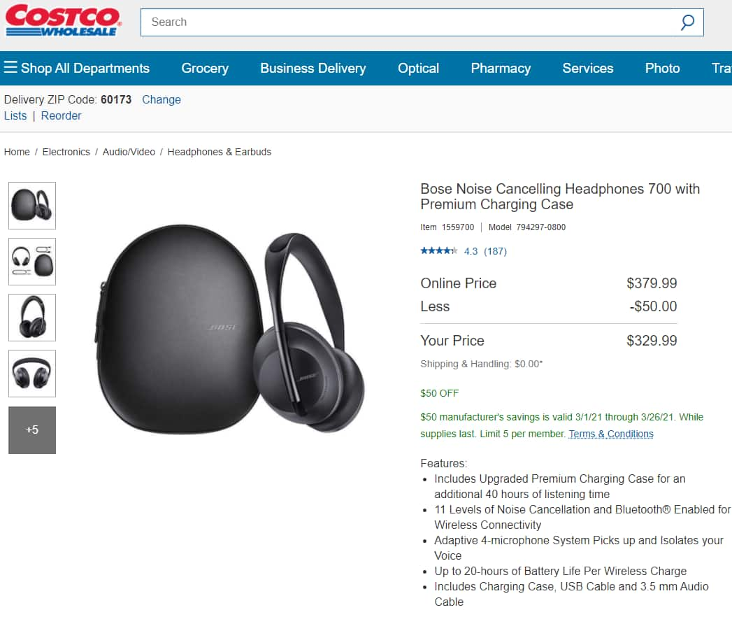 Bose Noise Cancelling Headphones 700 with Premium Charging Case $329.99
