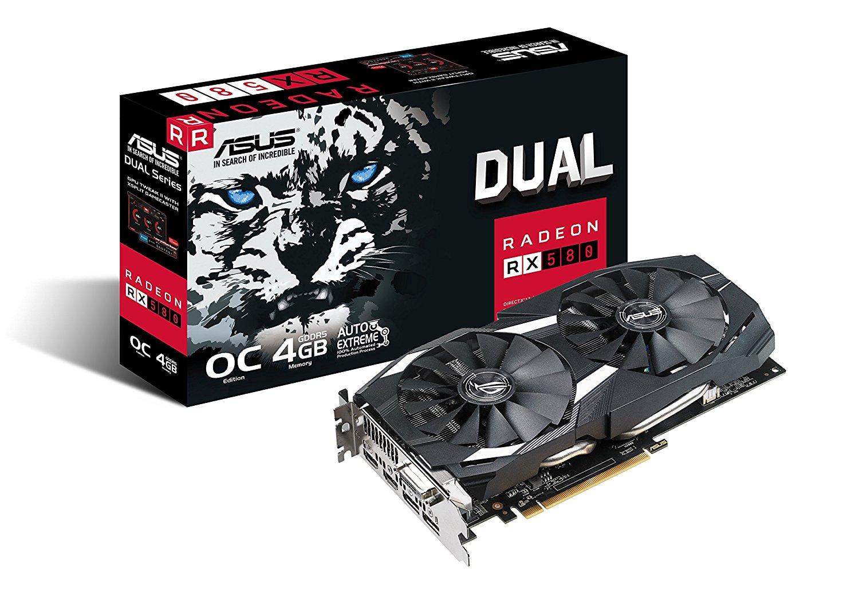 ASUS Radeon RX 580 8GB Dual-fan OC Edition GDDR5 DP HDMI DVI VR Ready AMD Graphics Card (DUAL-RX580-O8G) $280