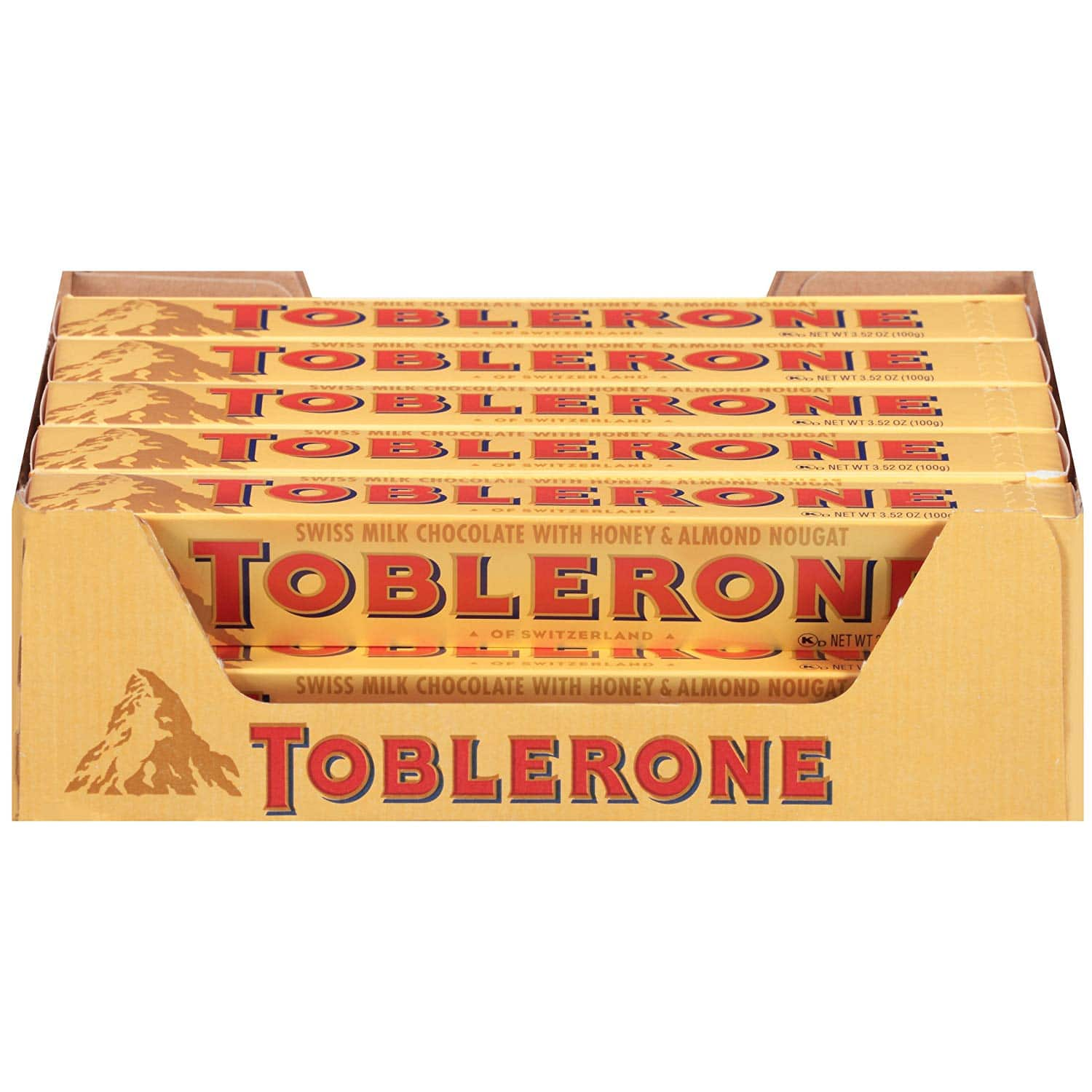 Toblerone Swiss Milk Chocolate with Honey & Almond Nougat, 3.52 Ounce Bars (Pack of 20) $18.2