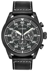 Citizen Eco-Drive Avion Men's Chronograph Black Leather 44mm Watch CA4215-21H (Refurb) for $89.99