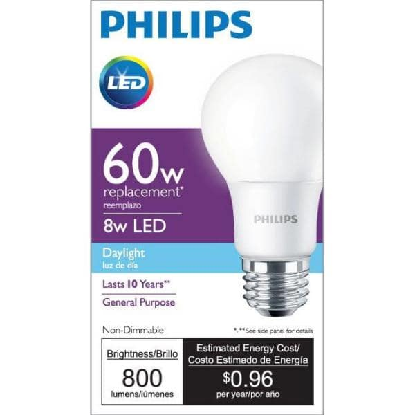 Philips 60W LED A19 4-pack Daylight for $2.82 (ymmv b&m)
