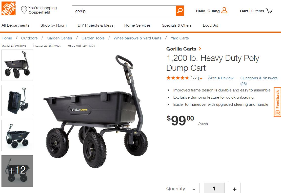 Gorilla dump cart 1200 lb GOR6PS @ homedepot for $99 YMMV for Houston TX