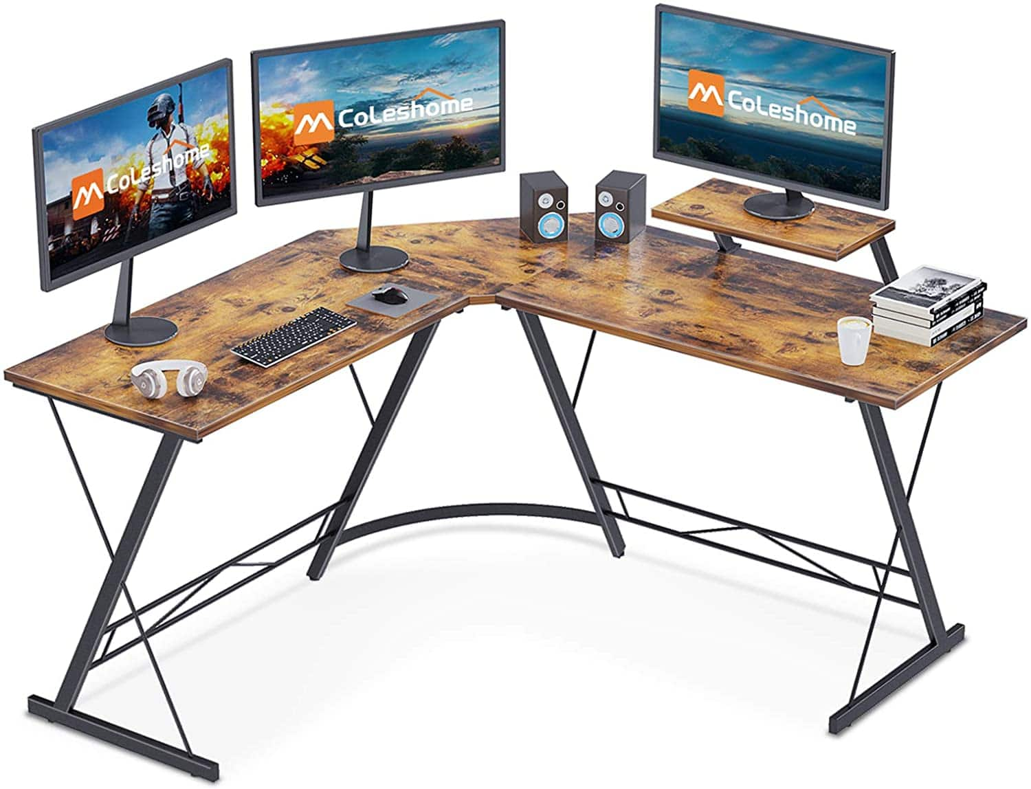 Coleshome L Shaped Desk / Gaming Computer Desk with Monitor Stand $49.99+Free Shipping