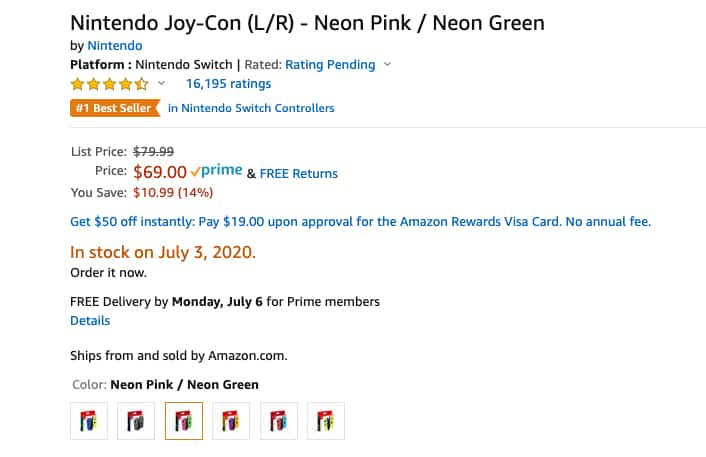 Nintendo Switch Joy-Con (L/R) Wireless Controllers for Nintendo Switch - green/pink AVAILABLE! $69