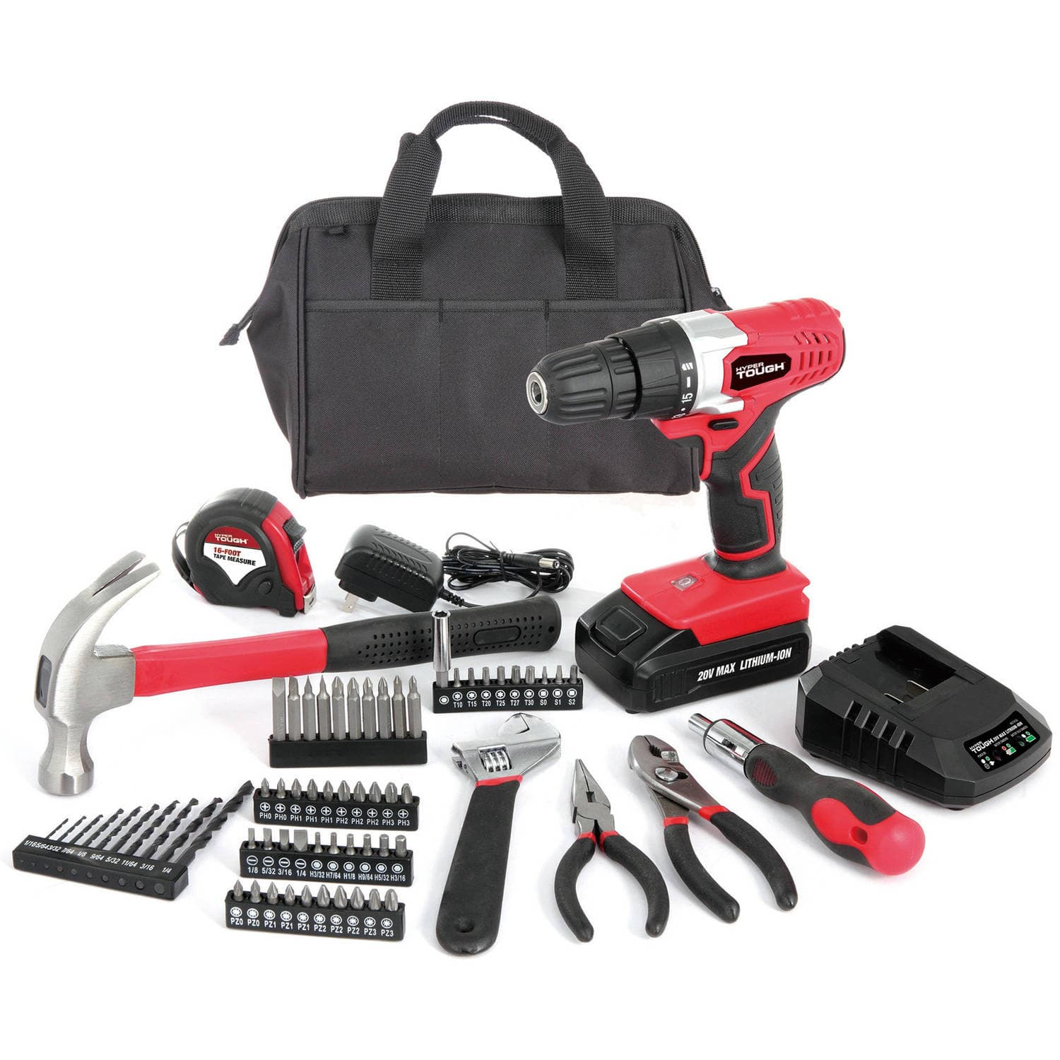 Hyper Tough 20V Drill with 70-Piece Project Tool Kit Set - Wal-Mart $9 Clearance YMMV