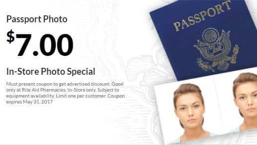 Most Rite Aid stores offer passport photos in store. They generally charge $10 for two USA photos. If you need more than 2 photos, or if you need photos in other sizes like 35x45mm, 25x35, or 33x48 mm size for China, India, UK, Australia, Germany, Shengen or Canada, Rite Aid stores will not be useful.