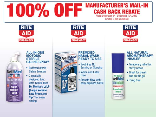 NeilMed NasaMist, SinuFlo Ready Rinse and Sinulnhaler for Free after Rebate for 12-4 to 12-10 Purchases