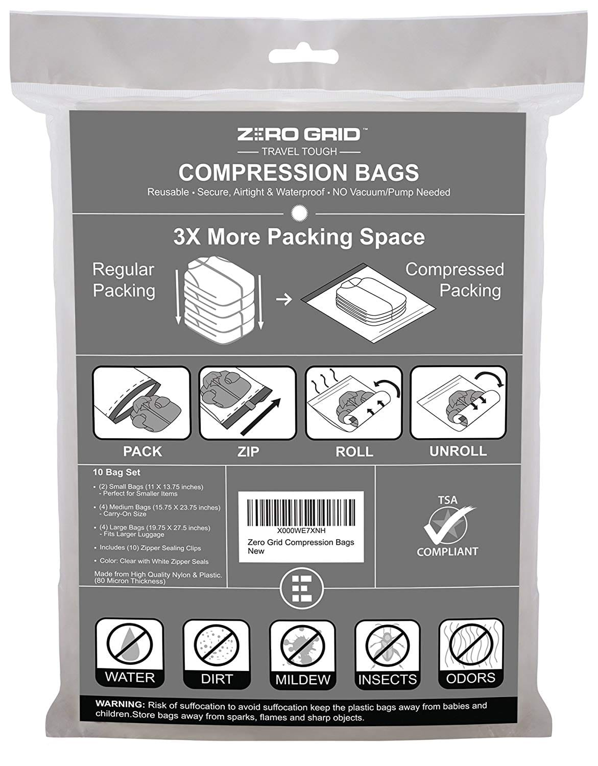 Zero Grid Travel Compression Bags - 10 Count $7.89