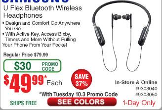 Samsung U Flex Bluetooth Wireless Headphones $49.99 shipped @ Fry's