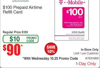 TMobile $100 Prepaid Card for $90 BM AC @ Fry's 10/25 only