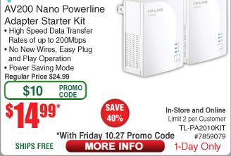 TP-Link AV200 Nano Powerline Adapter Starter Kit $14.99 AC shipped @ Fry's