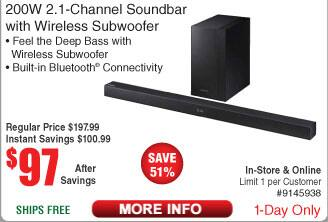 Samsung 200W 2.1 Channel Soundbar with Wireless Subwoofer $97 AC shipped @ Fry's